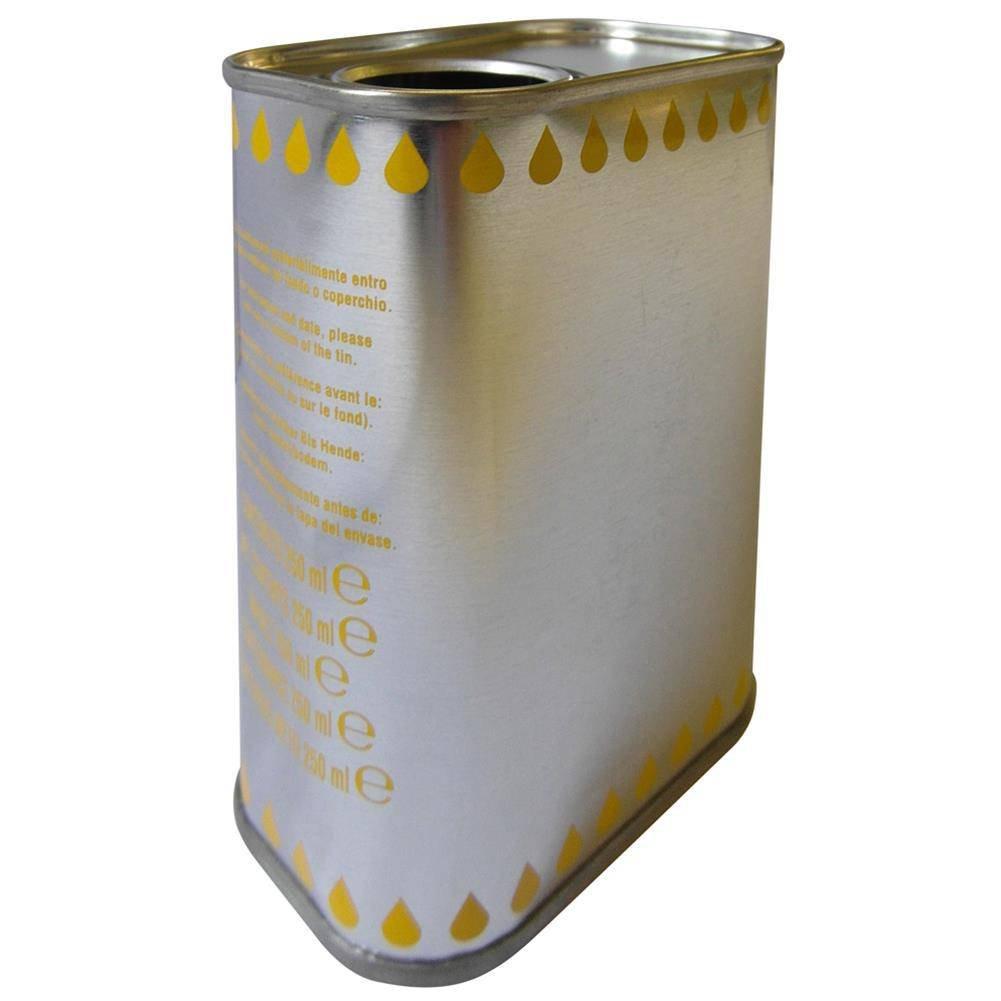 colore cromato con gocce gialle capacit/à 250 ml Lattina per olio in banda stagnata
