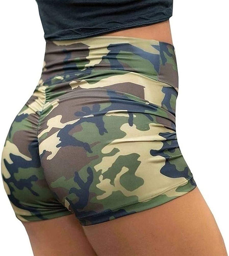 Vertvie Damen Camouflage Shorts High Waist Sweatshorts Sporthose Fitnesshose Hotpants Yogahosen kurz eng Shorts Trainninghosen Freizeithosen