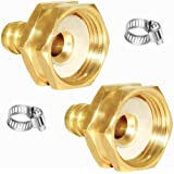 "Joywayus 2Pcs 1/2"" Barb x 3/4"" Female GHT Thread Swivel Hex Brass Garden Water Hose Pipe Connector Copper Fitting with…"