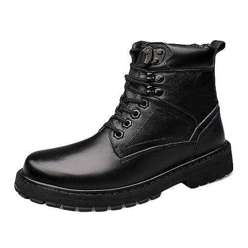 Zapatos Altos De Cuero Negro Botines Botines Invierno Cálido Caminatas Al Aire Libre Senderismo Botas con