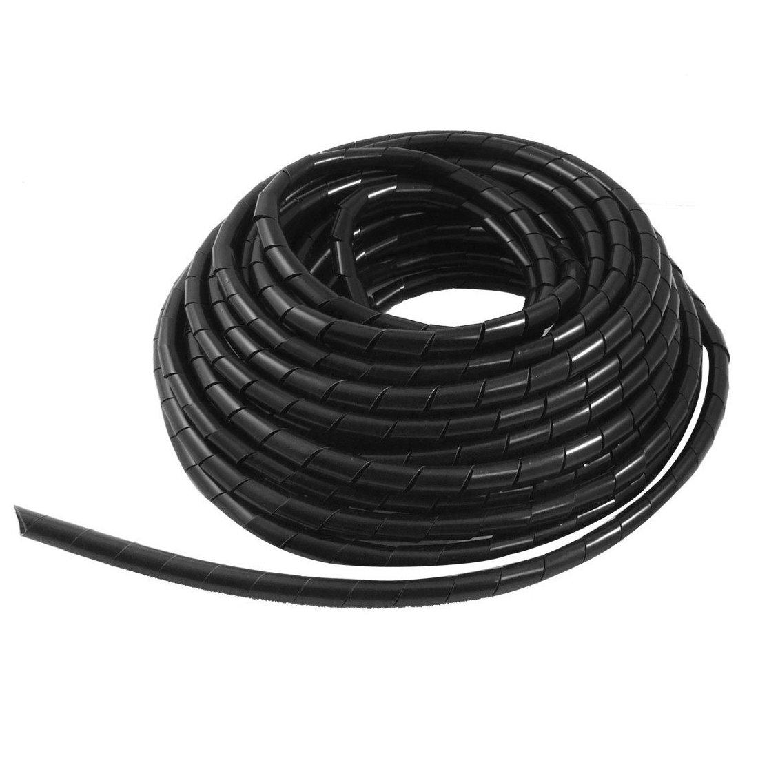 Semoic Noir 12M PE Polyethylene protection de Cable electrique Tube spiral 8mm de Dia Tube