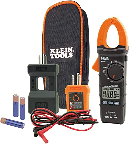 Klein Tools CL110KIT Electrical Tester Maintenance Kit w Clamp Meter, Continuity Tester, GFCI Tester, Line Splitter, Case, Leads, 3 x AAA