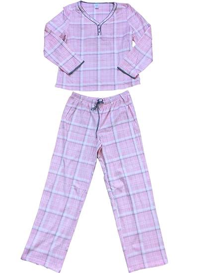 39af91035 Womens Pink Gray   White Plaid Fleece Pajamas Fuzzy V-Neck Sleep Set ...