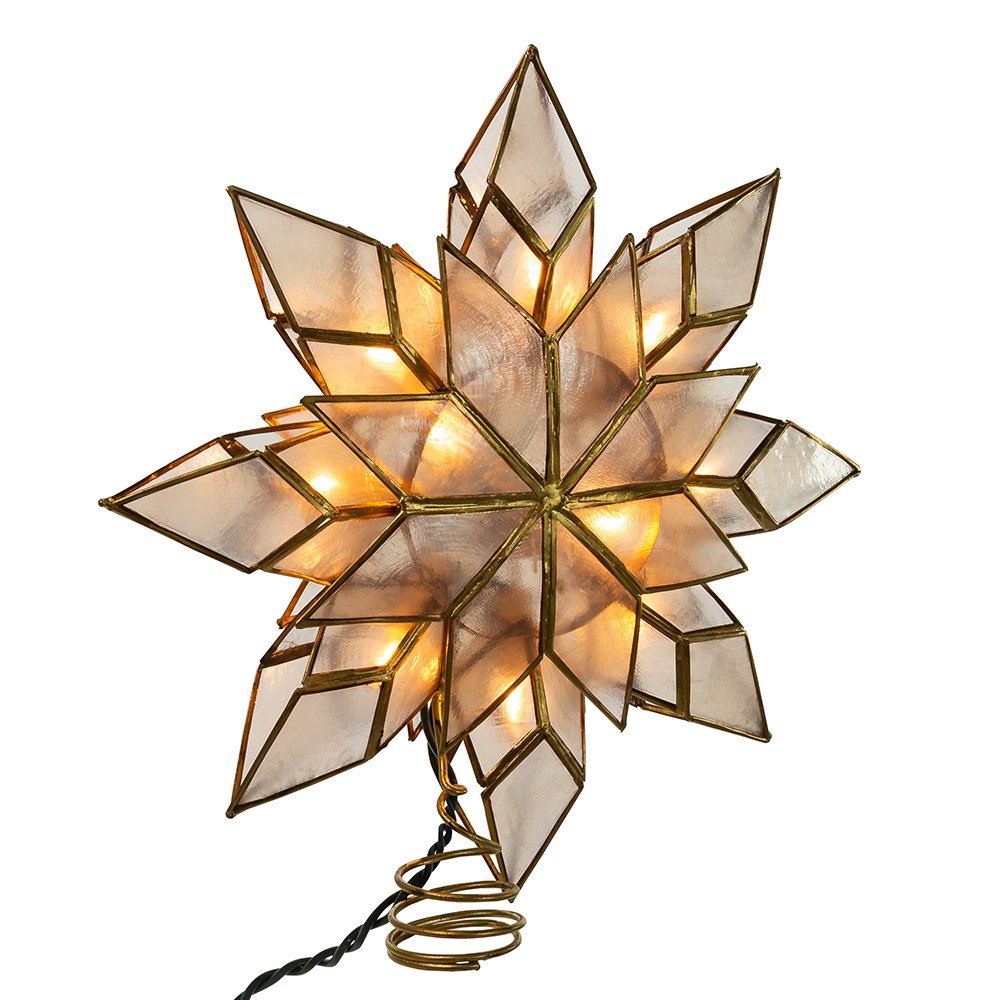 Kurt Adler 9-Inch Capiz Star Tree Topper with 10 Clear Lights and 1 Spare Bulb UL0118/C