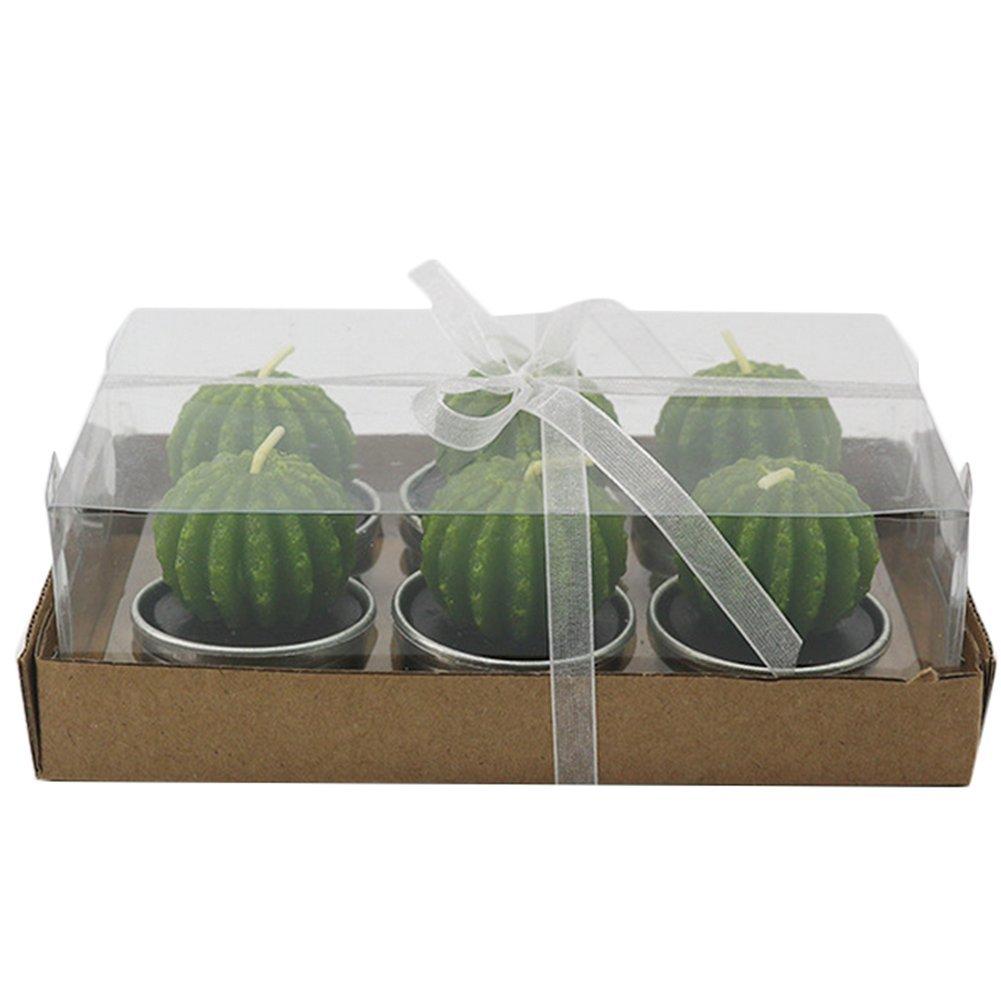 Bougies uniques pour d/écoration danniversaire ou de mariage 4,2/x 4/cm B Lot de 6 bougies Westeng En forme de plantes vertes Green