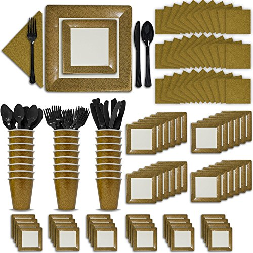 Fancy Disposable Gold Dinnerware Set - 24 Guest - 2 Size Square Plates, Cups, Napkins, Spoons, Forks, Knives - Made of Heavyweight Paper - Posh Dinnerware with Elegant Design Perfect for Upscale Party