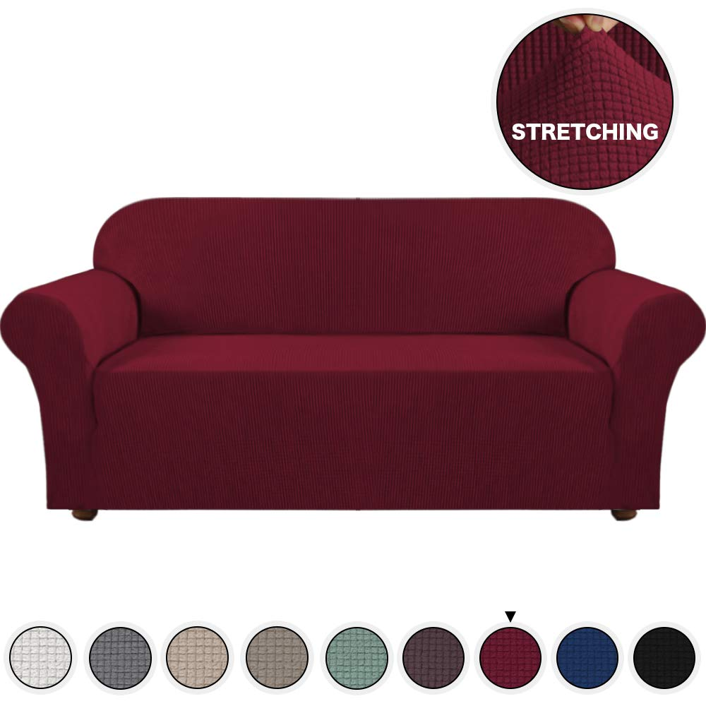 Stretch Sofa Covers Burgundy Couch Cover for 3 Seat Couch Slipcover/Lounge Covers Featuring Rich Jacquard Knitted Fabric Strapless Slipcover for 3 Seater Sofa (Sofa, Burgundy)