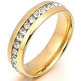 MunkiMix Edelstahl Ewigkeit Ewig Ring Band CZ Zirkon Zirkonia Gold Golden Valentine Charm Charme Elegant Polished Herren