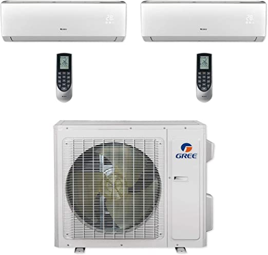 Amazon Com Gree Multi24cvir200 24 000 Btu Multi21 Dual Zone Wall Mount Mini Split Air Conditioner Heat Pump 208 230v 9 9 Home Kitchen