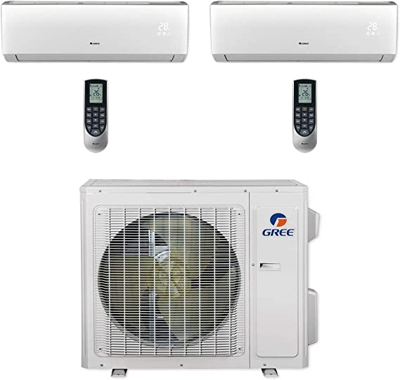 Amazon Com Gree Multi24cvir200 24 000 Btu Multi21 Dual Zone Wall Mount Mini Split Air Conditioner Heat Pump 208 230v 9 9 Home Kitchen