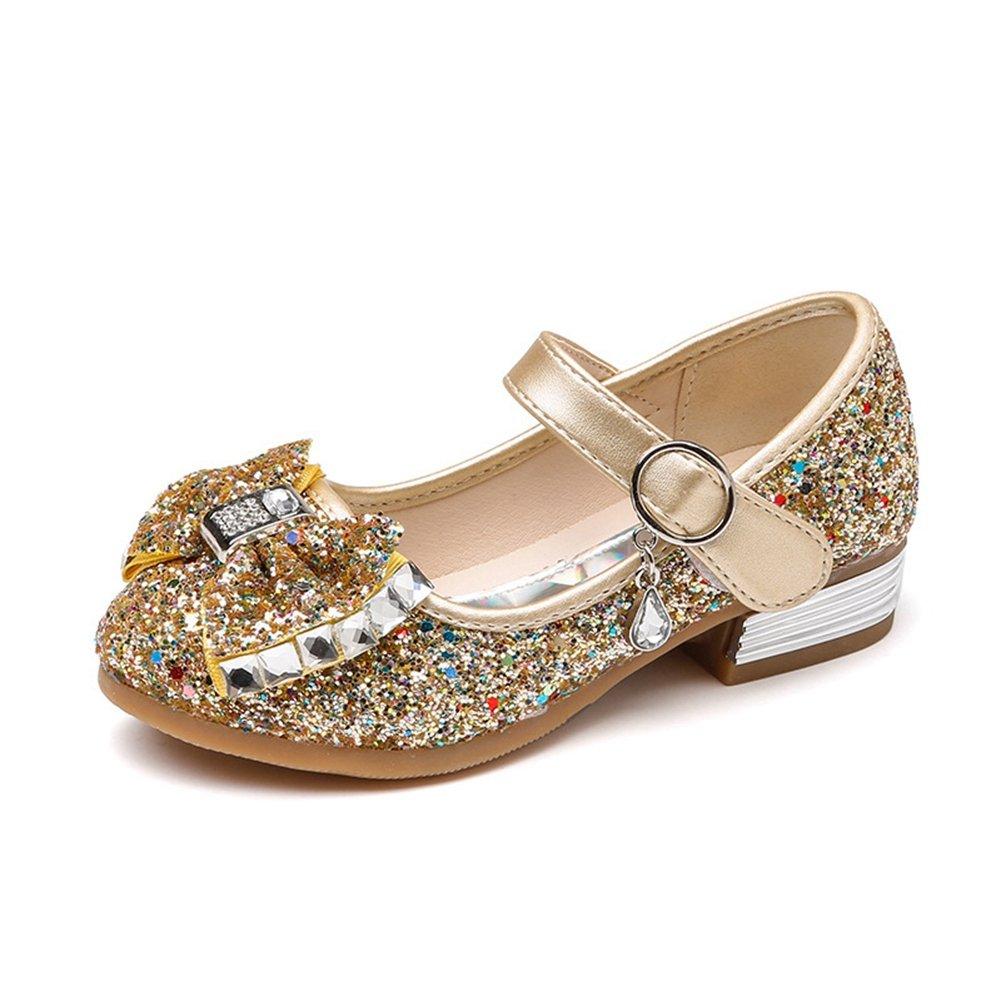 F-OXMY Toddler Little Girls Glitter Bowknot Mary Jane Slip On Ballet Princess Shoes Strap