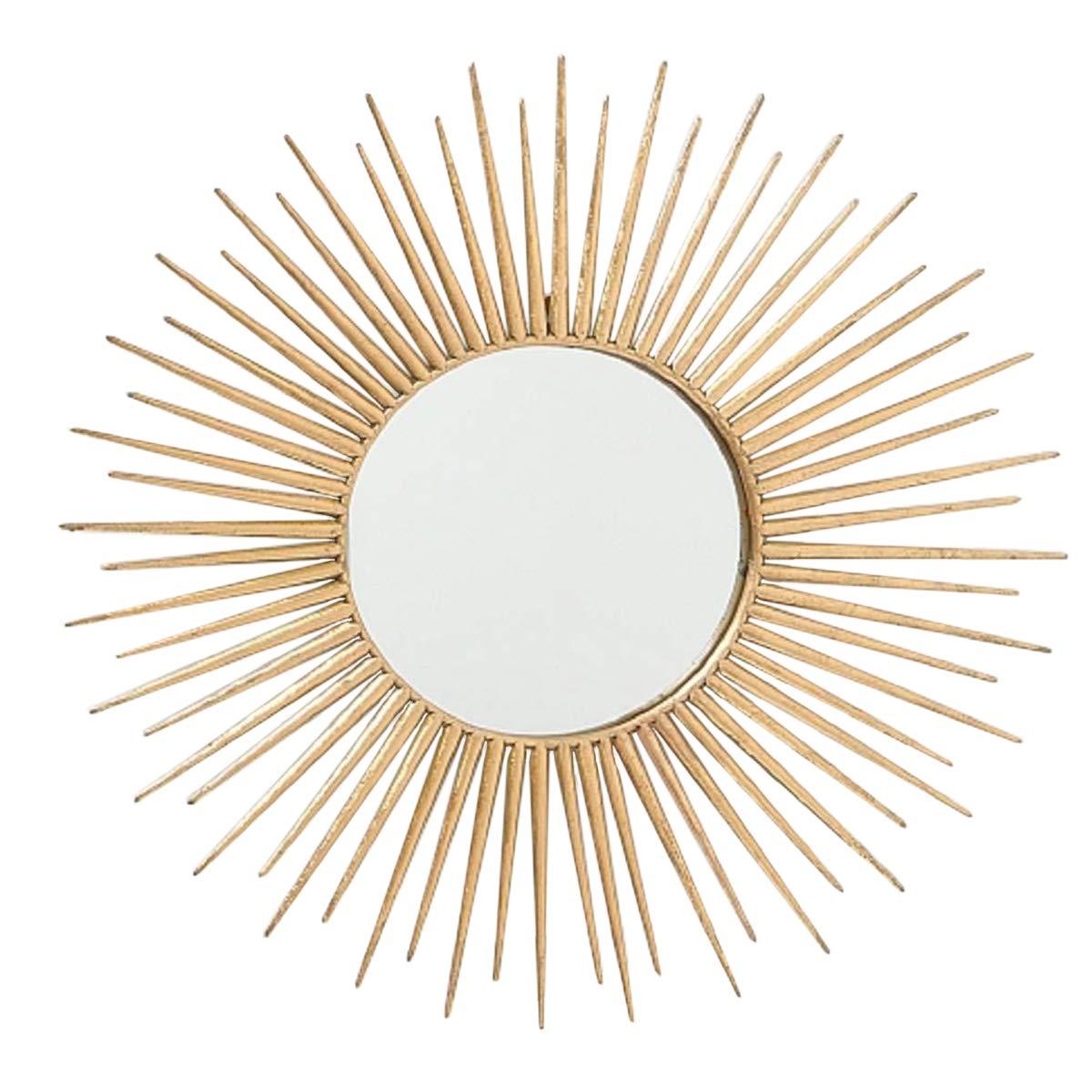 CasaJame Metall Wandobjekt Wandbild Sonne Sonnen Spiegel 75x75cm Gold Eisen