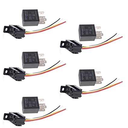 ESUPPORT Car Relay 12v 30a Spst 4pin Socket Pack of 5