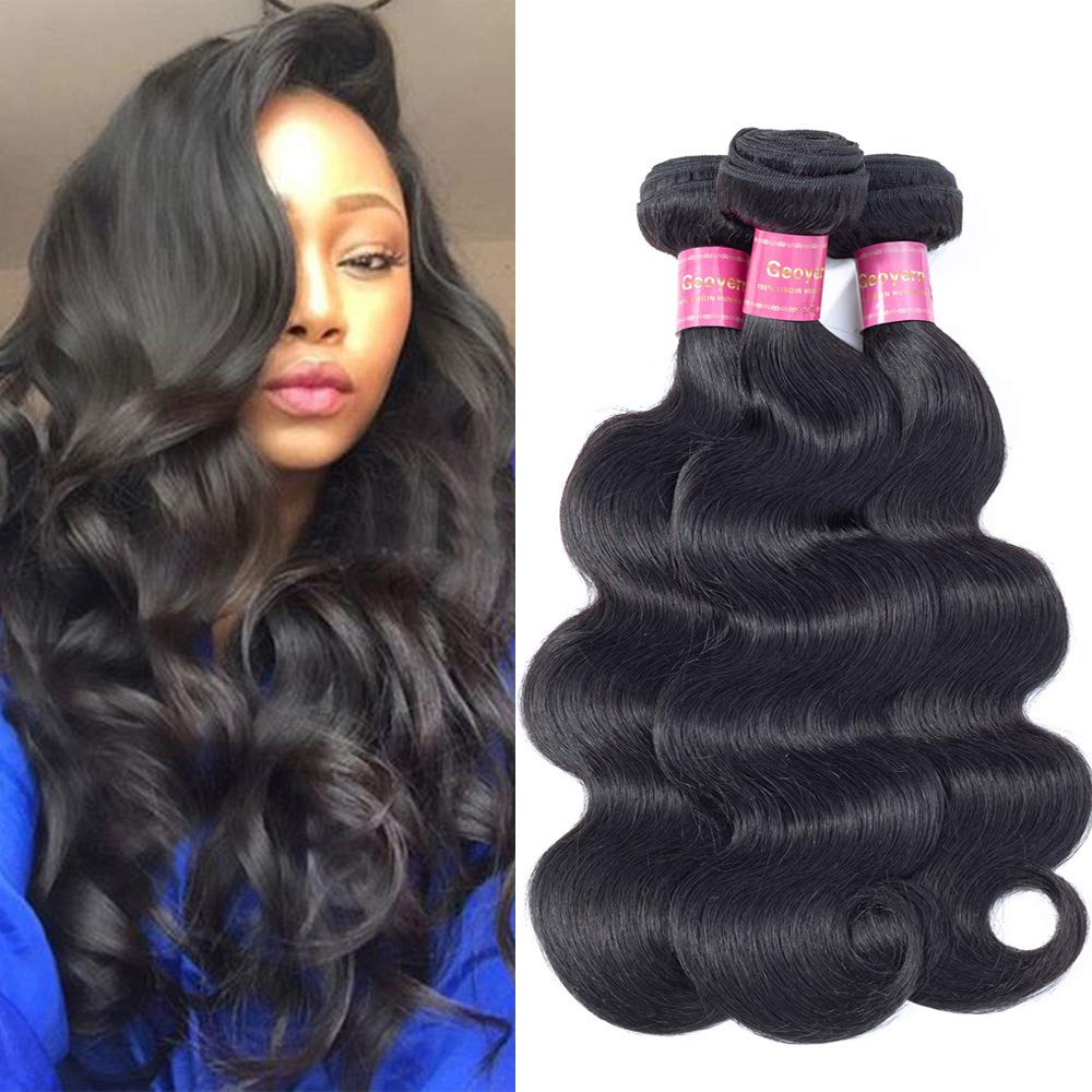 Geoyern Brazilian Body Wave Virgin Hair 3 Bundles Hair Weft 10A Unprocessed Human Hair Weave Extensions Remy Hair Weaving For African Americans Women Natural Color 3pcs Total 300g/10.5oz(18 18 18) by Geoyern