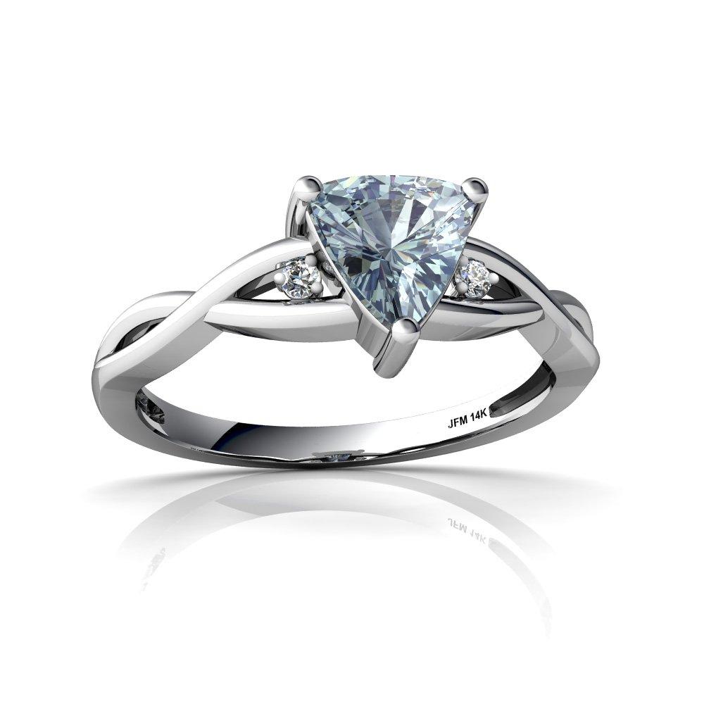 14kt White Gold Aquamarine and Diamond 6mm Trillion Twist Ring - Size 7