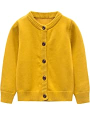 GLEAMING GRAIN Toddler Kids Knit Cardigan Sweaters Baby Boys Girls 100% Cotton Solid Color Basic Sweater 18M-6T