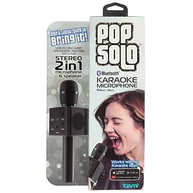 Tzumi PopSolo, Portable Wireless Bluetooth Karaoke Microphone, Dual Stereo Speaker's, 2200mAh Battery, 5 Mixing Controls.(Black)