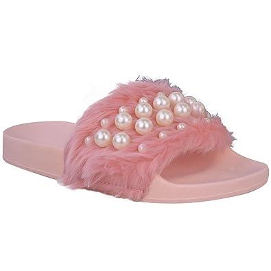 énorme réduction super populaire haute couture Claquettes plates - fausse fourrure/perles - été - femme ...