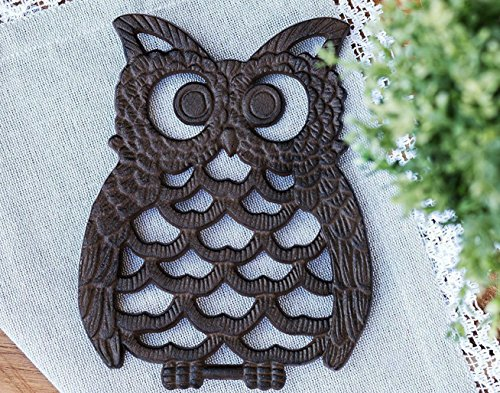 Cast Iron Owl Trivet - Decorative Trivet For Kitchen Counter or Dining Table Vintage, Rustic, Artisan Design - 7.75X6