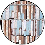 Short Plush Modern Round Carpet mat Long Wooden Planks Tree Designs on with Rusty Metal Screws Artwork Brown White and Blue Bedroom Bedside Kitchen Bedroom 51.1'' x 47.2'' Round