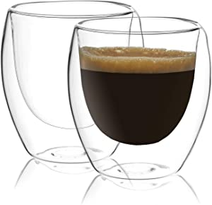 Circleware Thermax Double Wall Insulated Heat Resistant Glass Espresso Shots Set of 2 Home & Kitchen Beverage Drinking Entertaining Latte Cappuccino Tea and Coffee Glassware Cups, 2.7 oz, Clear