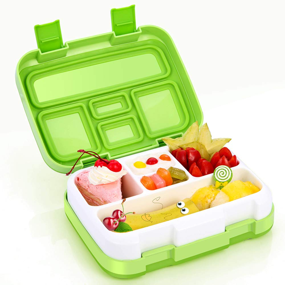 Bento Box, Kids Lunch Box with BPA-Free, Leakproof 5 Compartments Food Container Great for School, Picnics, Travel and More, Green Jelife