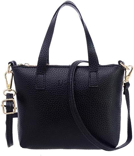 Black Four Set Handbag,Clearance : Shoes AgrinTol Women Four Set Handbag Shoulder Bags Tote Bag Crossbody Wallet