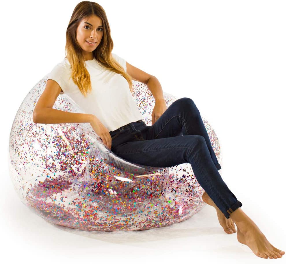 Blochair Inflatable Chair (Multicolored Glitter) - Perfect for Rooms, Game Rooms, Dorms, Parties, Indoors and Outdoors. Easy Set up & Storage.