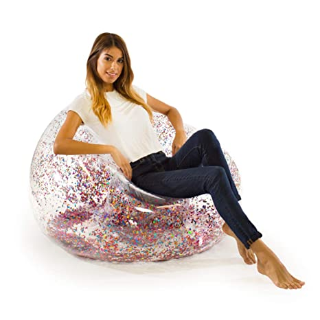 Amazon.com: Glitter BloChair - Silla hinchable con purpurina ...