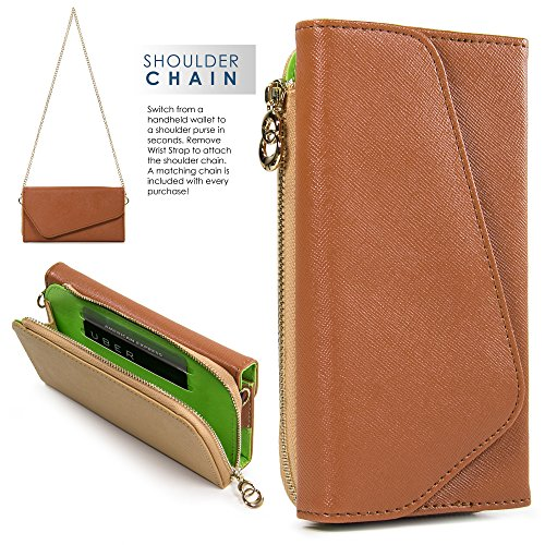 Kroo Samsung Z3, Galaxy S8 S7 S6 active S6 edge Case | Brown/Tan Universal Crossbody Clutch & Wristlet [Lovely Color Schemes]