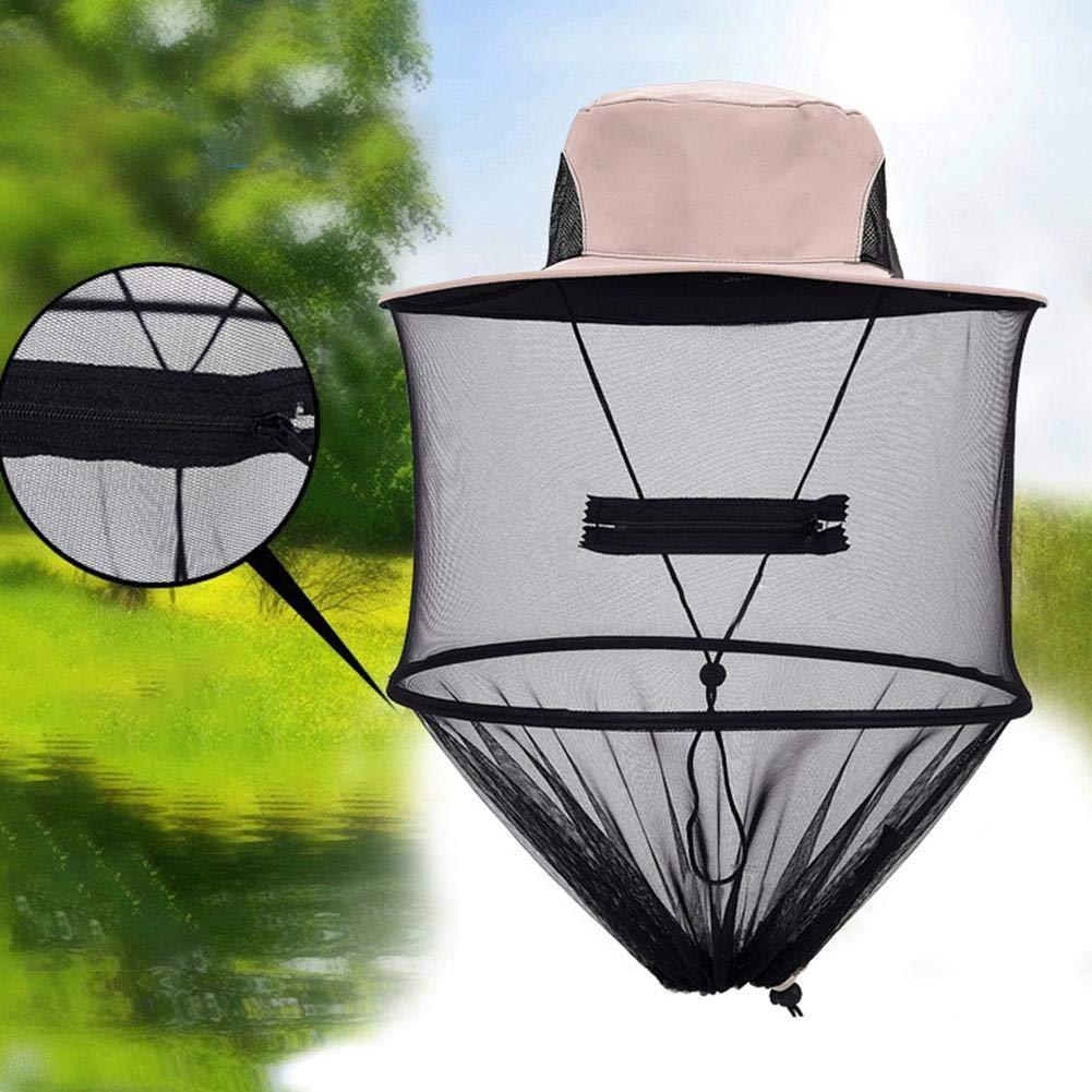 nalysevt Anti-Moskito-Kappe Moskito Kopfnetz Bienenzucht GesichtsmaskeHut Schal Unisex Camouflage Abgerundete Hut Fischer