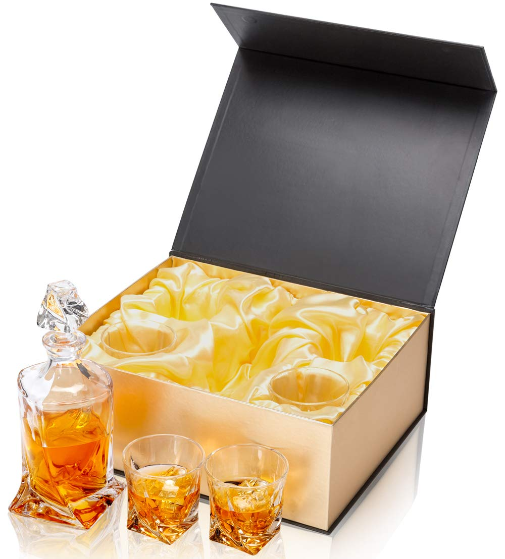 KANARS Twist Whiskey Decanter Set With 4 Glasses In Luxury Gift Box - Original Lead Free Crystal Liquor Decanter Set For Scotch or Bourbon, 5-Piece by KANARS (Image #3)