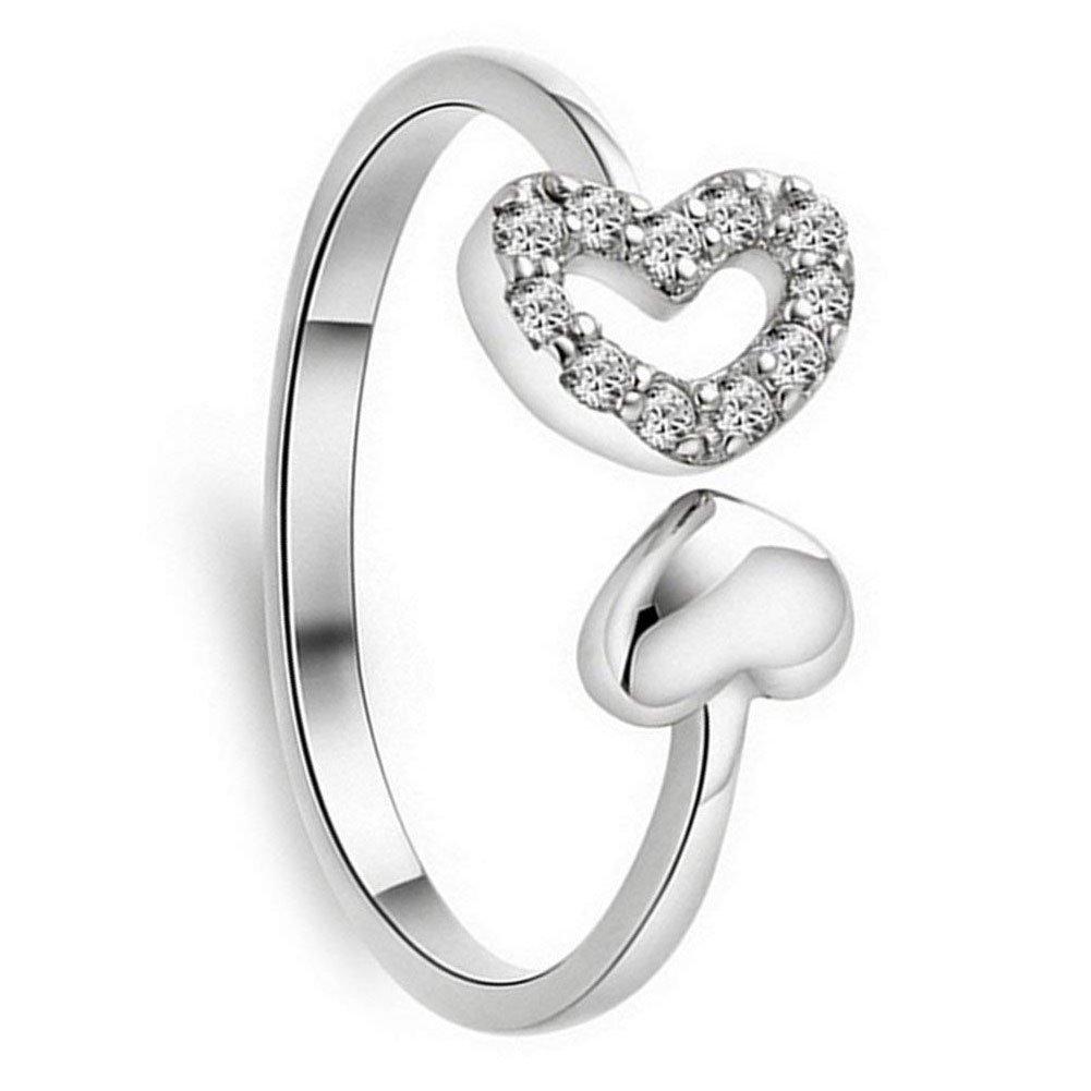Xuxuou Ladies double Forme de cœur Bague à la mode Ouverture réglable Bague femelle artificielle Diamant femelle doigt Ornement 1PC