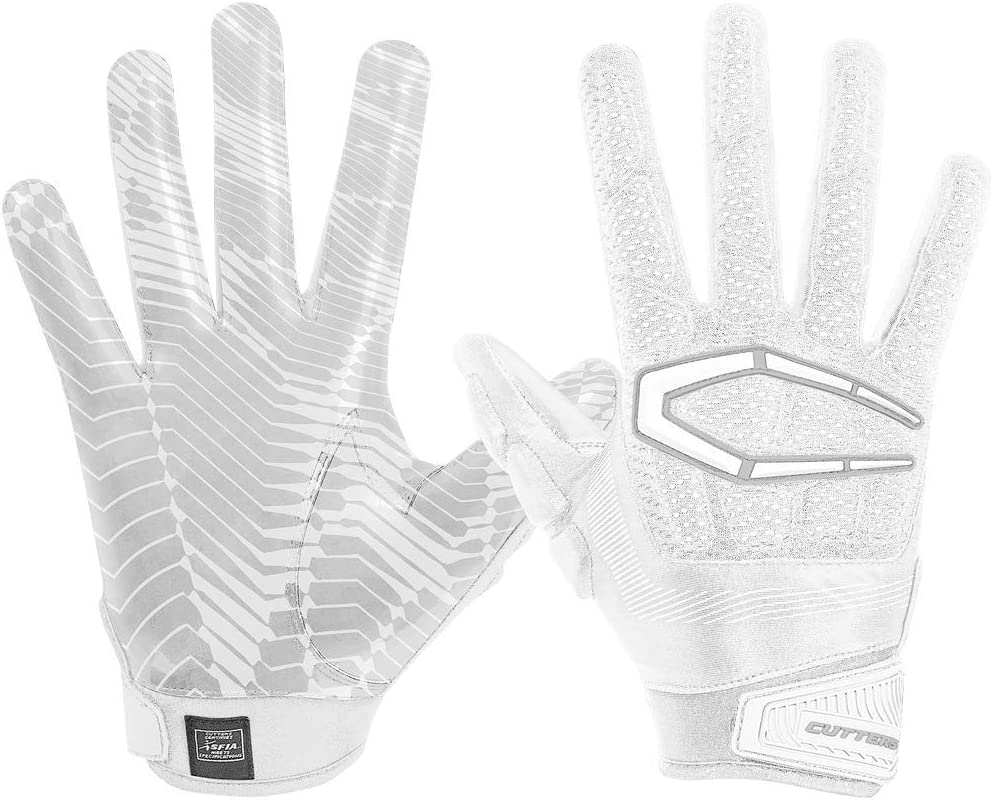カッター手袋s652 Gamer 3.0 Padded Receiverグローブ、ホワイト、大