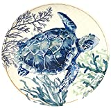 Coastal Home Sea Life Sea Turtle Appetizer Plate One Size Ivory/blue/green