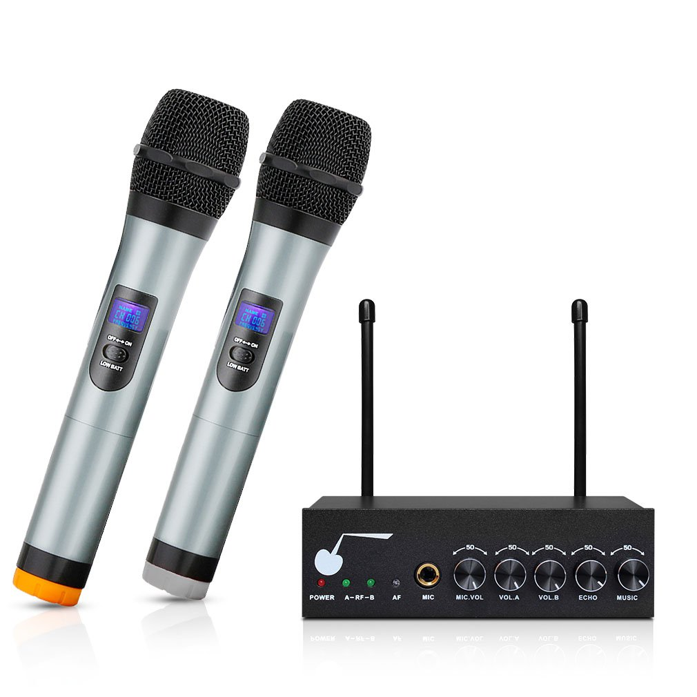 ARCHEER Bluetooth Wireless Microphone System for Karaoke Machine with 1/4'' Mic Jack, VHF Dual Channel Handheld Karaoke Microphone Church Party Cordless Mic Set for TV/Smartphone/iPad/PC/Tablet