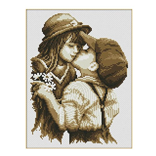 Baiyu DIY Handmade Needlework Cross Stitch Pure Kiss Embroidery Kit Precise Printed Cross-Stitching Set Home Decoration Size 32×40cm–Without Tool Bag
