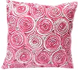 Hello Bangkok (Single) Two Tone 3d Bouquet of Roses Throw Cushion Cover/pillow Sham Handmade By Satin and Thai Silk for Decorative Sofa, Car and Living Room Size 16 X 16 Inches (Pink)