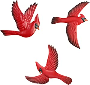 IFFUNNI Red Metal Birds Cardinal 3-PACK Wall Art Decor Sculptures Hanging for Home Garden Office Outdoor Indoor Porch Fence