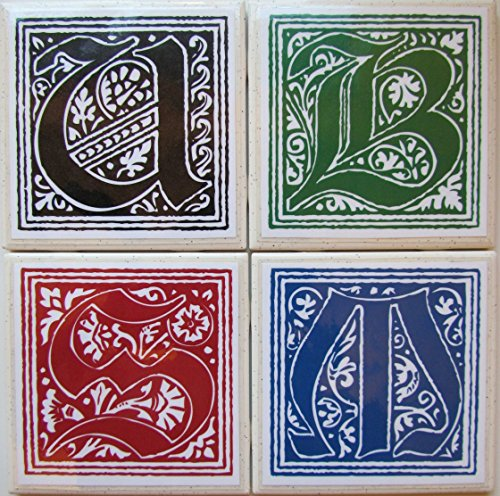 Ceramic Tile Coasters - Personalized Initials - Set of 4 - Custom Made To Order - Check out more designs by typing in - Made Perfect Coaster Company - We ()