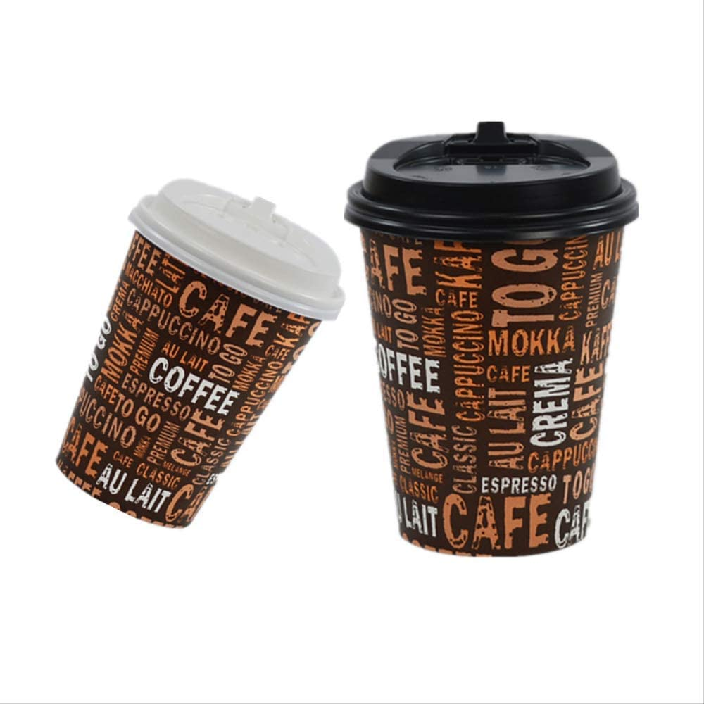 Disposable Paper Cup 50pcs American Style Disposable Coffee Cup Party Birthday Afternoon Tea Bbq Hot Drink Takeaway Package Thick Paper Cup With Lid Amazon Co Uk Kitchen Home