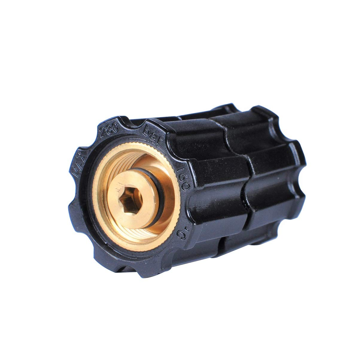 YAMATIC Pressure Washer Hoses Connection Stabilizer Adapter, M22-14mm Female x M22-14mm Female Fitting Up to 5000 PSI by YAMATIC
