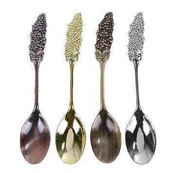 globeagle 4pcs/set Vintage Mulberry forma Metal tallado de cucharillas de café cubiertos de cocina: Amazon.es: Hogar