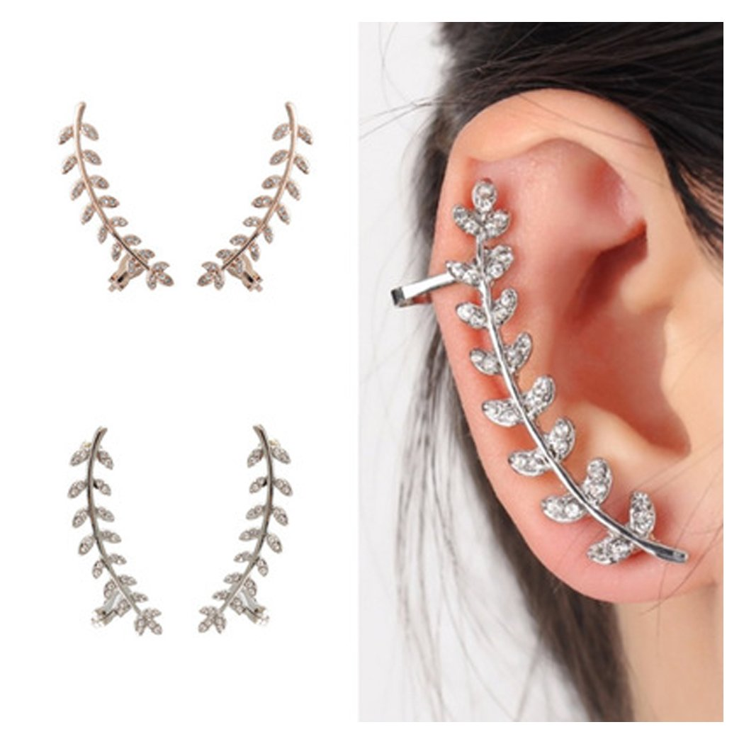 Gold Silver Crystal Leaf Post Stud Ear Climber Ear Clip Cuff Wrap Earrings for Women Girls CHICY CH070808