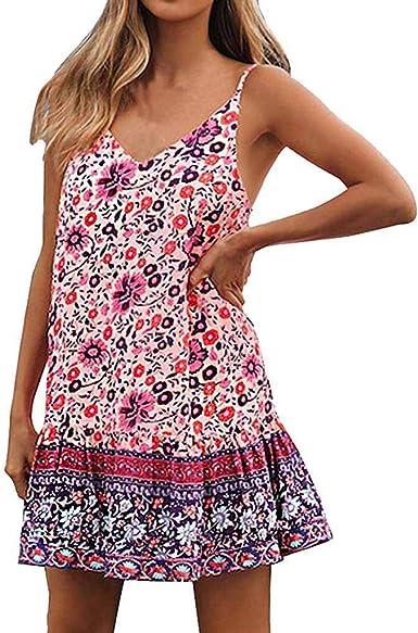 Boho Sundress Dress Floral Summer Party Beach Short Cocktails A-line Retro