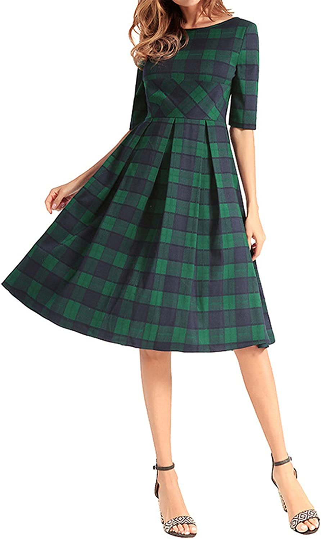 AELSON Women Half Sleeve A Line Dress Casual Plaid Midi Dress Green