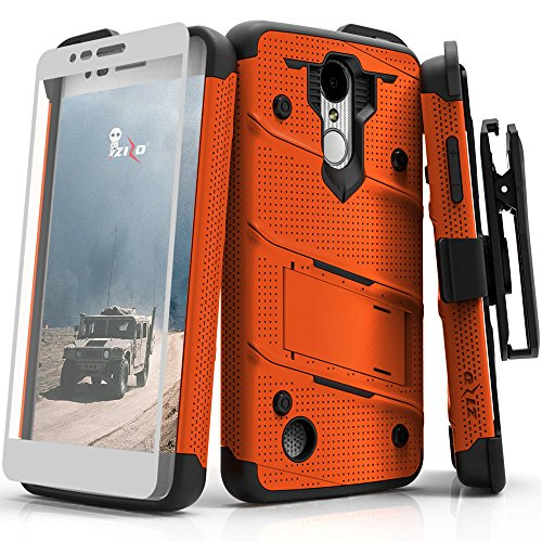 Zizo Bolt Series compatilbe with LG Aristo Case Military Grade Drop Tested with Tempered Glass Screen Protector Holster LG Fortune Orange Black