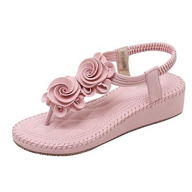 f6b944023e76 YOUJIAA Women s Flatform Flowers Summer Beach Sandals Comfortable Elastic T-Strap  Bohemia Flip Flops Post