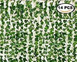 See Greeen 98 feet Ivy Garland Jungle Theme Party Supplies Decorations Safari Artificial Vine Leaf Garland Fake Moss Table Runner Balcony Wall Wedding Classroom Backdrop Leaves.