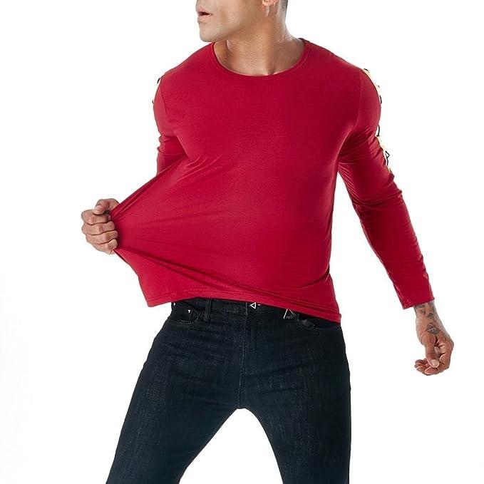 Resplend Camiseta de Manga Larga con Cuello en V para Hombre, Casual, de otoño